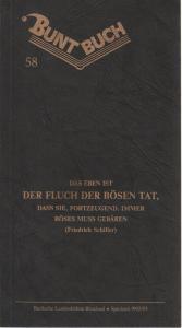 Badische Landesbühne Bruchsal, Rolf P. Parchwitz, Friederike Bernau Programmheft William Shakespeare: MACBETH. Premiere 13. Februar 1993 Buntbuch Nr. 58.