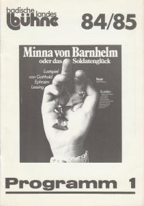 Badische Landesbühne Bruchsal, Alf Andre, Franz Csiky Programmheft Minna von Barnhelm oder Das Soldatenglück. Premiere 22.09.1984 Spielzeit 1984 / 85 Heft 1