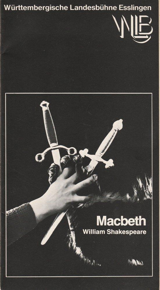Württembergische Landesbühne Esslingen, Achim Thorwald, Dominik Neuner Programmheft MACBETH. Tragödie von William Shakespeare Premiere 12. Oktober 1977 Spielzeit 1977 / 78 Heft 3 0