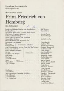 Münchner Kammerspiele, Dieter Dorn, Hans-Joachim Ruckhäberle, Rolf Schröder, Hermann Malzer Programmheft Prinz Friedrich von Homburg. Premiere 1. Oktober 1995 Spielzeit 1995 / 96 Heft 1
