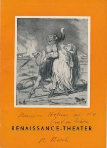 Renaissance-Theater, Kurt Raeck Programmheft HELENA oder Die Lust zu leben. Spielzeit 1952 / 53