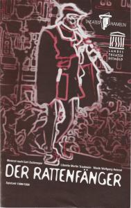 Theater Hameln, Landestheater Detmold, Ulf Reiher, Juliane Wulfgramm Programmheft DER RATTENFÄNGER Musical nach Carl Zuckmayer Spielzeit 1998 / 99 Heft 11