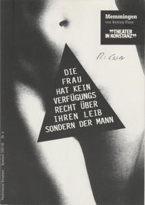 Theater in Konstanz, Ulrich Khuon, Beate Darius Programmheft MEMMINGEN von Bettina Fless. Premiere 11. Januar 1992 Stadttheater Konstanz Spielzeit 1991 / 92 Nr. 4