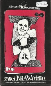 Münchner Volkstheater, Ruth Drexel, Helmar von Hanstein, Anja Sibylla Weddig Programmheft Zwei Krawatten. Revuestück von Georg Kaiser Premiere 20. Januar 1995 Spielzeit 1994 / 95 Heft 3