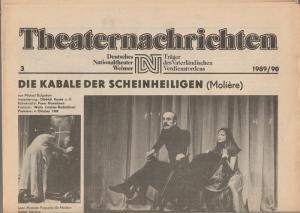 Deutsches Nationaltheater Weimar, Fritz Wendrich, Christine Schild Theaternachrichten Deutsches Nationaltheater Weimar 3 - 1989 / 90
