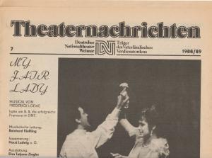 Deutsches Nationaltheater Weimar, Fritz Wendrich, Christine Schild Theaternachrichten Deutsches Nationaltheater Weimar 7 - 1988 / 89