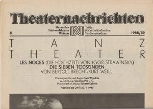 Deutsches Nationaltheater Weimar, Fritz Wendrich, Christine Schild Theaternachrichten Deutsches Nationaltheater Weimar 8 - 1988 / 89