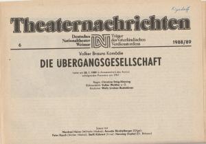 Deutsches Nationaltheater Weimar, Fritz Wendrich, Christine Schild Theaternachrichten Deutsches Nationaltheater Weimar 6 - 1988 / 89