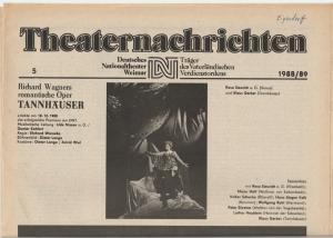 Deutsches Nationaltheater Weimar, Fritz Wendrich, Christine Schild Theaternachrichten Deutsches Nationaltheater Weimar 5 - 1988 / 89