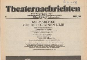 Deutsches Nationaltheater Weimar, Fritz Wendrich, Christine Schild Theaternachrichten Deutsches Nationaltheater Weimar 9 - 1987 / 88