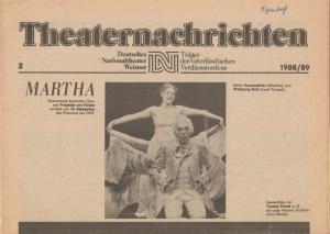 Deutsches Nationaltheater Weimar, Fritz Wendrich, Christine Schild Theaternachrichten Deutsches Nationaltheater Weimar 2 - 1988 / 89
