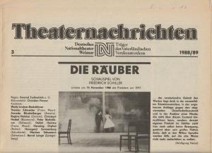 Deutsches Nationaltheater Weimar, Fritz Wendrich, Christine Schild Theaternachrichten Deutsches Nationaltheater Weimar 3 - 1988 / 89