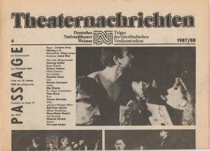 Deutsches Nationaltheater Weimar, Fritz Wendrich, Christine Schild Theaternachrichten Deutsches Nationaltheater Weimar 6 - 1987 / 88