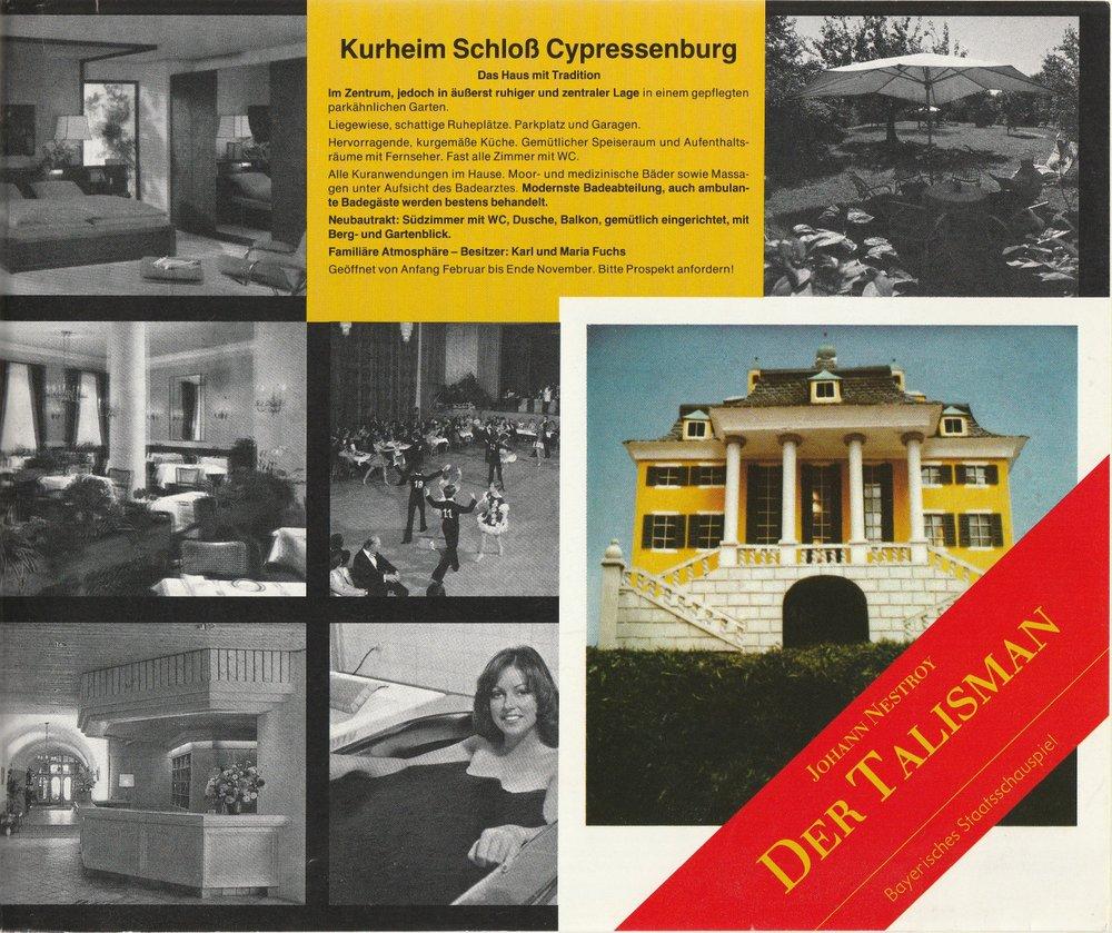 Bayerisches Staatsschauspiel, Kurt Meisel, Jörg-Dieter Haas, Otto König, Claus Seitz Programmheft Johann Nestroy DER TALISMAN. Premiere 16. Mai 1981 0