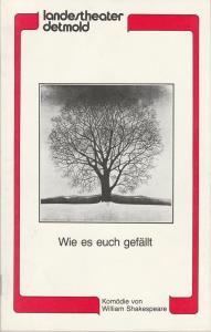 Landestheater Detmold, Otto Hans Böhm, Bruno Scharnberg Programmheft William Shakespeare: WIE ES EUCH GEFÄLLT Premiere 14. September 1983 Spielzeit 1983 / 84 Heft 1
