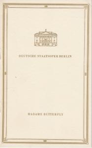 Deutsche Staatsoper Berlin DDR, Werner Otto, Wolfgang Würfel ( Zeichnungen ) Programmheft Giacomo Puccini MADAME BUTTERFLY 5. Juni 1969