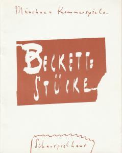 Münchner Kammerspiele, Dieter Dorn, Volker Pfüller, Hans-Joachim Ruckhäberle, Wolfgang Zimmermann Programmheft Beckett Stücke Premiere 16. Oktober 1991 Spielzeit 1991 / 92 Heft 1