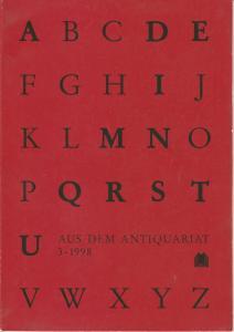 Arbeitsgemeinschaft Antiquariat im Börsenverein des Deutschen Buchhandels Aus dem Antiquariat 3 - 1998