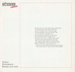 Bühnen der Hansestadt Lübeck, Hans Thoenies, Walter Hollender Programmheft William Shakespeare: Romeo und Julia. Premiere 3. März 1988 im Großen Haus. Spielzeit 1987 / 88 Heft 13