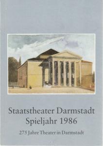 Staatstheater Darmstadt, Peter Brenner, Günter Schreckenberg ( Fotos ) Staatstheater Darmstadt Spieljahr 1986 275 Jahre Theater in Darmstadt Spielzeitheft
