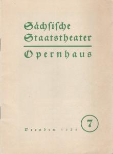 Städtische Staatstheater - Opernhaus Dresden, Hans Strohbach Programmheft Giuseppe Verdi: AIDA 25. Dezember 1935 Blätter der Staatsoper Nummer 7