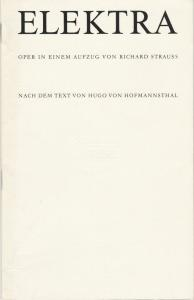 Staatsoper Dresden, Gerd Schönfelder, Sigrid Neef, Ekkehard Walter Programmheft Richard Strauss: ELEKTRA Premiere 15. Juli 1986 Spielzeit 1987 / 88