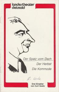 Landestheater Detmold, Otto Hans Böhm, Bruno Scharnberg Programmheft Curt Goetz: Der Spatz vom Dach / Der Herbst / Die Kommode Premiere 21. Mai 1982 Spielzeit 1982 / 83 Heft 4