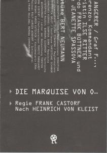 Volksbühne am Rosa-Luxemburg-Platz, Sebastian Kaiser Programmheft Heinrich von Kleist: DIE MARQUISE VON O Premiere 03.03.2012