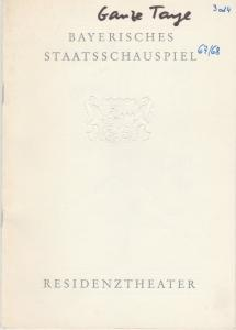 Bayerisches Staatsschauspiel, Helmut Henrichs, Ernst Wendt Programmheft Marguerite Duras GANZE TAGE IN DEN BÄUMEN Premiere 16. Dezember 1967 Residenztheater Spielzeit 1967 / 68