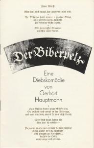 Staatstheater Dresden, Johannes Richter, Ekkehard Walter, Gerhard Piens Programmheft Gerhart Hauptmann: DER BIBERPELZ. Eine Diebskomödie. Premiere 26. Dezember 1981