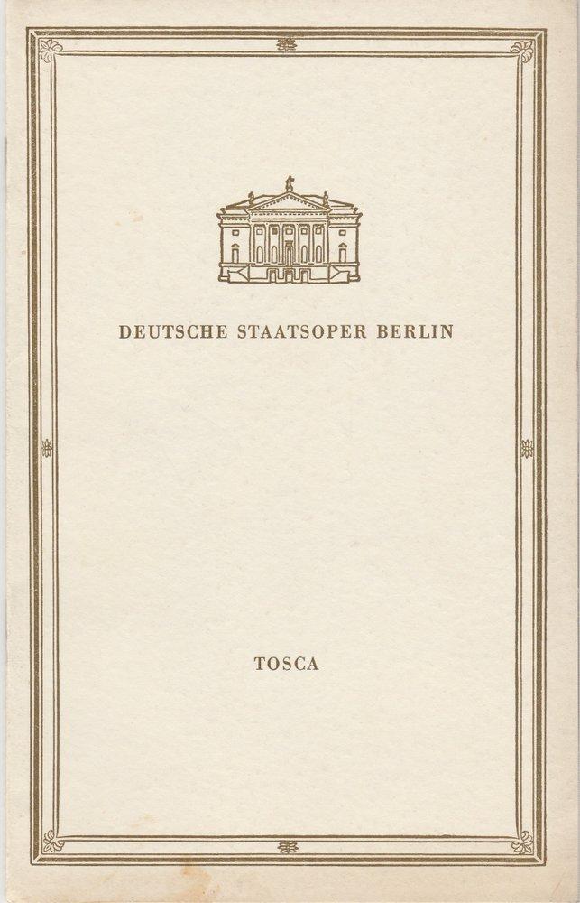 Deutsche Staatsoper Berlin, Deutsche Demokratische Republik, Günter Rimkus Programmheft Giacomo Puccini TOSCA 22. September 1959 0