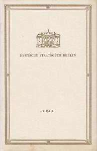 Deutsche Staatsoper Berlin, Deutsche Demokratische Republik, Günter Rimkus Programmheft Giacomo Puccini TOSCA 22. September 1959