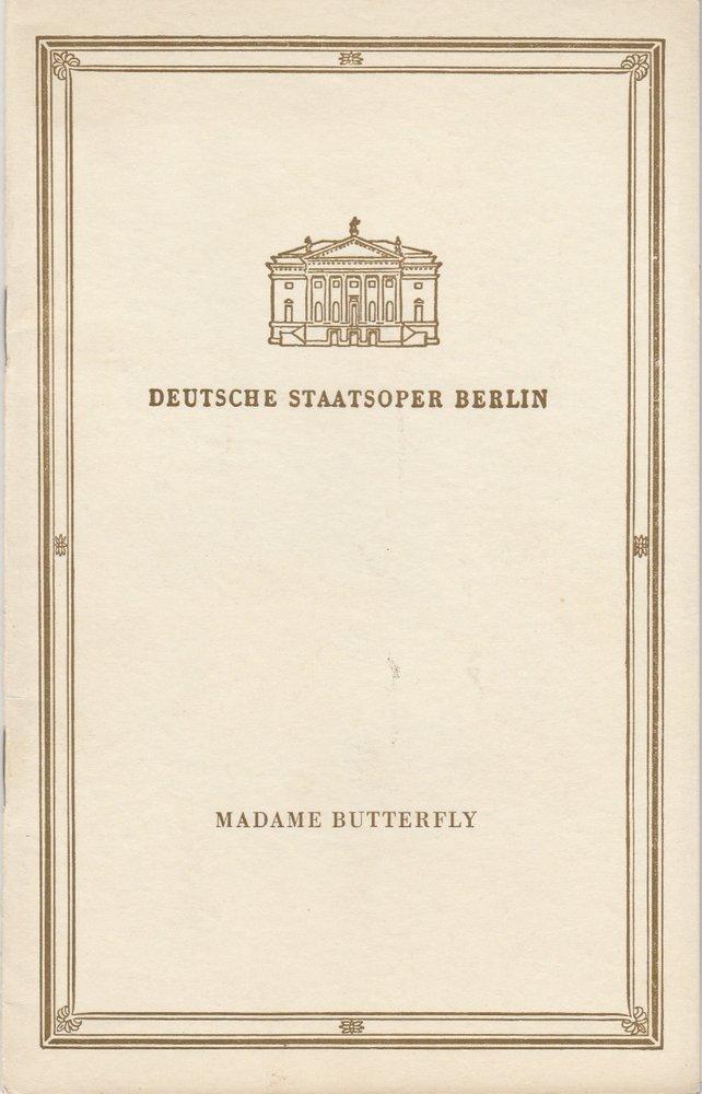 Deutsche Staatsoper Berlin, Deutsche Demokratische Republik, Werner Otto, Wolfgang Würfel Programmheft Giacomo Puccini MADAME BUTTERFLY 10 Juni 1958 0