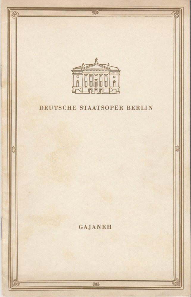 Deutsche Staatsoper Berlin, Deutsche Demokratische Republik, Albert Burkat Programmheft Aram Iljitsch Chatschaturjan GAJANEH 30. Januar 1956 0