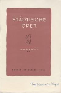 Städtische Oper Berlin, Carl Ebert, Horst Goerges, Wilhelm Reinking Programmheft Giuseppe Verdi: DIE SIZILIANISCHE VESPER 25. Oktober 1960 Spielzeit 1960 / 61 Nr. 3
