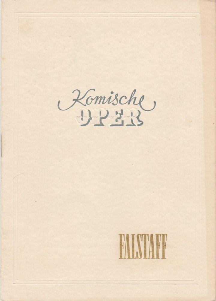 Komische Oper Berlin, Werner Otto Programmheft Guiseppe Verdi: FALSTAFF. Lyrische Komödie von Arrigo Boito 0
