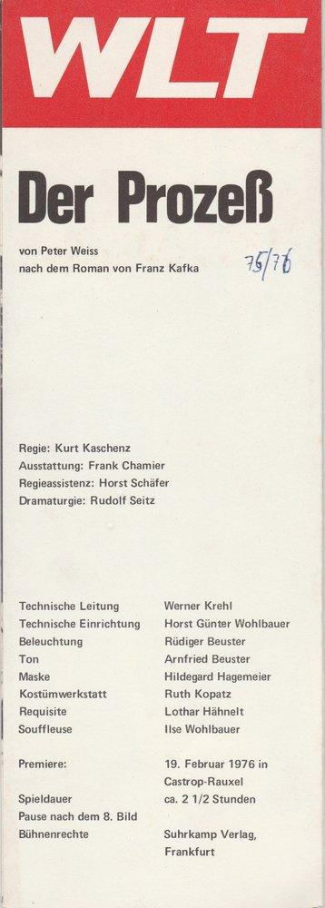 Westfälisches Landestheater WLT, Frieder Weber, Ernst Franz, Ekkehard Schönwiese, Rudolf Seitz Programmheft Franz Kafka DER PROZESS Premiere 19. Februar 1976 Castrop-Rauxel Spielzeit 1975 / 76 0