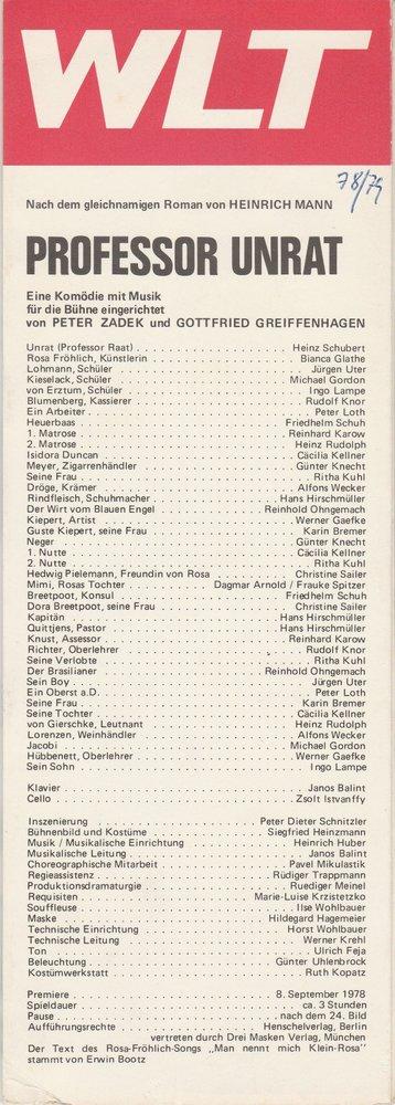 Westfälisches Landestheater WLT, Frieder Weber, Ernst Franz, Ruediger Meinl Programmheft Heinrich Mann PROFESSOR UNRAT Premiere 8. September 1978 0