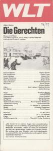 Westfälisches Landestheater WLT, Frieder Weber, Ernst Franz, Rüdiger Meinl Programmheft Albert Camus DIE GERECHTEN Premiere 27. Mai 1977