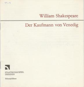Staatsschauspiel Dresden, Gerhard Wolfram, Gerhard Piens Programmheft William Shakespeare: DER KAUFMANN VON VENEDIG Premiere 11. Januar 1985