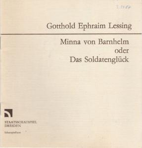 Staatsschauspiel Dresden, Gerhard Wolfram, Volkmar Spörl Programmheft Lessing: MINNA VON BARNHELM Premiere 1. November 1986