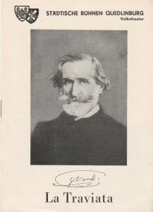Städtische Bühnen Quedlinburg, Volkstheater, Curt Trepte, E. Wagner, W. Witzke Programmheft Giuseppe Verdi: LA TRAVIATA