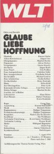 Westfälisches Landestheater WLT, Frieder Weber, Ernst Franz, Rüdiger Trappmann Programmheft Ödön von Horvath GLAUBE LIEBE HOFFNUNG Premiere 7. April 1978 Spielzeit 1977 / 78