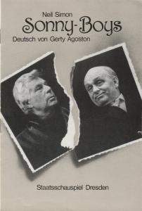 Staatsschauspiel Dresden, Gerhard Wolfram, Karla Kochta, Jürgen Haufe Programmheft Neil Simon SONNY-BOYS Premiere 24. Februar 1984