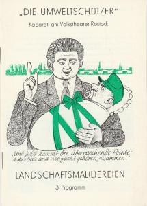 Die Umweltschützer, Kabarett am Volkstheater Rostock, DDR - Kabarett Programmheft 3. Programm LANDSCHAFTSMAL(L)EREIEN. Premiere 10. Juli 1982