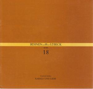 Bühnen der Hansestadt Lübeck, Hans Thoenies, Ulrich Fischer Programmheft Friedrich Schiller KABALE UND LIEBE Premiere 11. Mai 1983 Kammerspiele Spielzeit 1982 / 83 Heft 18