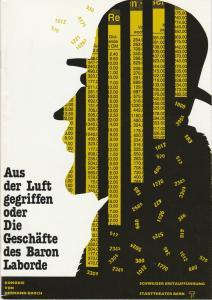 Stadttheater Bern, Philippe de Bros, Eberhard Elmar Zick, Heinz Jost Programmheft Hermann Broch AUS DER LUFT GEGRIFFEN Premiere 14. Januar 1990 Spielzeit 1989 / 90