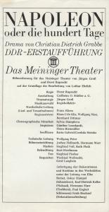 Das Meininger Theater, Albert Bußmann, Jürgen Groß, Dietrich Ziebart Programmheft Christian Dietrich Grabbe NAPOLEON 5. September 1973 Spielzeit 1973 / 74 Heft 1