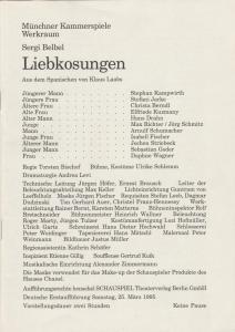 Münchner Kammerspiele, Dieter Dorn, Andrea Levi, Wolfgang Zimmermann Programmheft LIEBKOSUNGEN von Sergi Belbel. Spielzeit 1994 / 95 Werkraum Heft 5