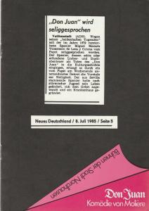 Bühnen der Stadt Nordhausen, Siegfried Mühlhaus, Astrid Straßberger, Hubert Kross jr. Programmheft Moliere: DON JUAN oder DER STEINERNE GAST Premiere 17. April 1987